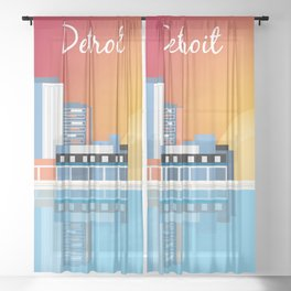 Detroit, Michigan - Skyline Illustration by Loose Petals Sheer Curtain
