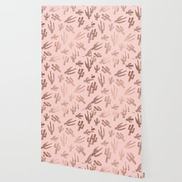 Modern rose gold cactus pattern on blush pink Wallpaper