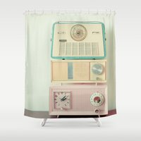 radio Shower Curtains featuring Radio Stations by Cassia Beck