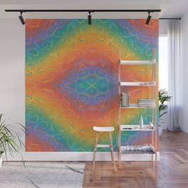 Colorful Liquid Holographic Pattern Abstract Rainbow Waves Wall Mural