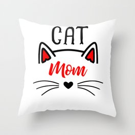 Cat Mom Heart Nose Ears and Whiskers Throw Pillow