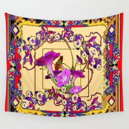 Red Decorative  Blue Purple Vining Flowers Patterns  Art Wall Tapestry