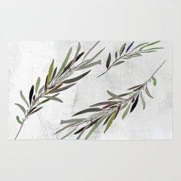 Eucalyptus Leaves White Rug