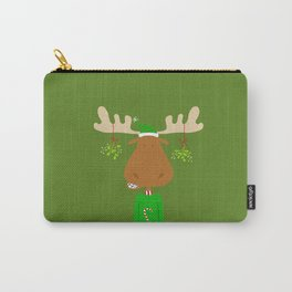 Merry Christmoose - Christmas Mistletoe Moose Carry-All Pouch