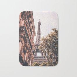Paris Eifel Tower Pink photography in HD Bath Mat