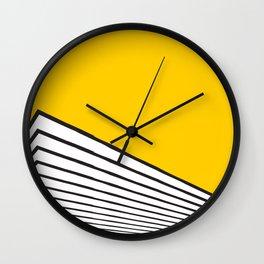 Minimal geometric building city - yellow/black Wall Clock