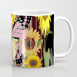 BLACK ABSTRACT PINK BUTTERFLY SUNFLOWER FLORAL Coffee Mug