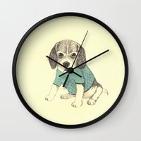 puppy Wall Clocks featuring puppy by maria elina