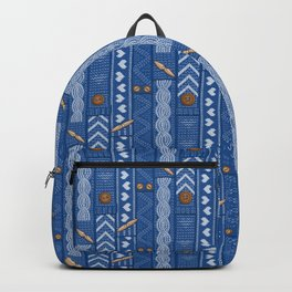 Scarves Knitted Buttoned - Blue Backpack