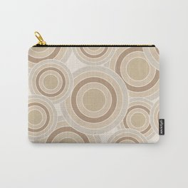 Overlapping Circles in Beige and Tan Carry-All Pouch