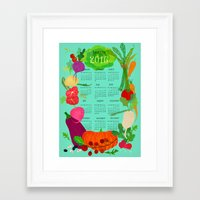 calender Framed Art Prints featuring Veggie Calender 2016 by Elisandra