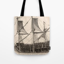 Vintage Naval Vessel Interior Diagram (1693) Tote Bag