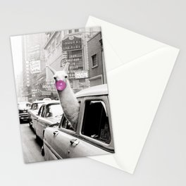 Perfect Pink Bubble Gum Llama taking a New York Taxi black and white photograph Stationery Cards