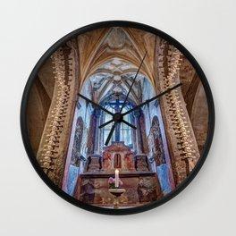 Sedlec Ossuary Altar Photo Art, Skull Bone Church Wall Clock