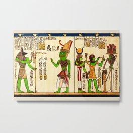 Egyptian Pepe The Frog Praise KEK Goddess Hieroglyphs Metal Print