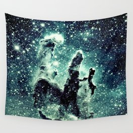 Nebula Galaxy : Teal Pillars of Creation Wall Tapestry