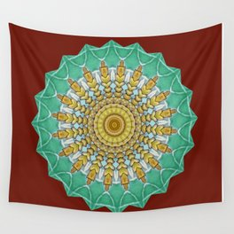 Lovely Healing Mandala  in Brilliant Colors: Burnt Orange, Green, Wheat, Gray, and White Wall Tapestry