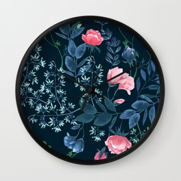 Floral - Blue & Pink Wall Clock