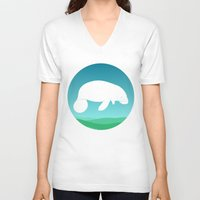 manatee V-neck T-shirts featuring Manatee by tuditees