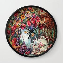 Vintage Tea Party Bouquet Wall Clock
