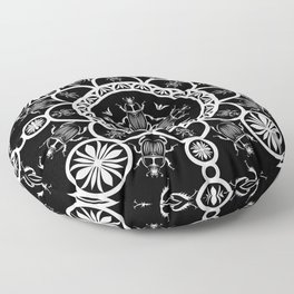 Scarab tile line pattern with black Background Floor Pillow