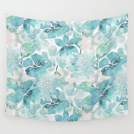 Blue green watercolor flower pattern Wall Tapestry