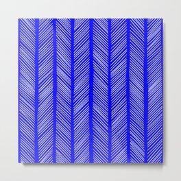 Cobalt Herringbone Metal Print