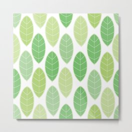 green toned leaves pattern Metal Print