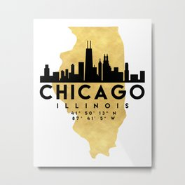 CHICAGO ILLINOIS SILHOUETTE SKYLINE MAP ART Metal Print