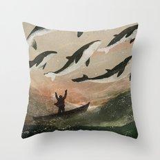 Minke Whale Migration Throw Pillow