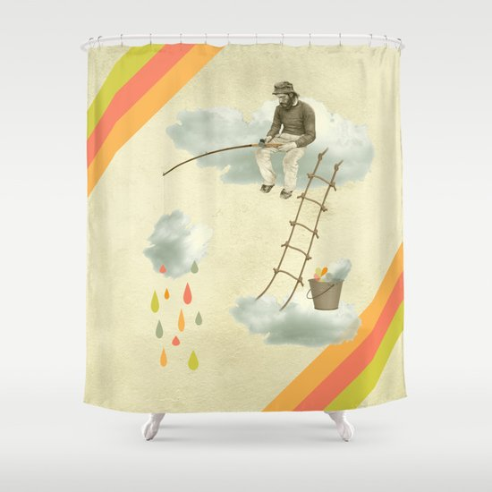 The fisherman who was cleaning the sky from the clouds Shower Curtain