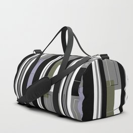 Black and White Striped Duffle Bag