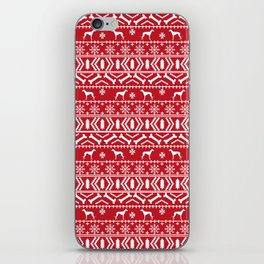 Whippet fair isle dog breed pattern christmas holidays gifts dog lovers red and white iPhone Skin