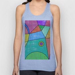 Colorful geometric abstract print, primary colors print Unisex Tank Top