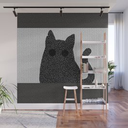 The sitting gray cat Wall Mural