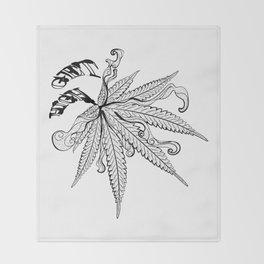 Marijuana leaf with smoke Throw Blanket
