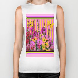 YELLOW BUTTERFLIES  PINK FLORAL GARDEN  ABSTRACT Biker Tank