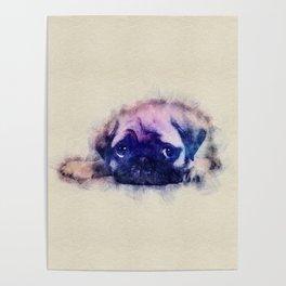 Pug puppy Sketch  Digital Art Poster