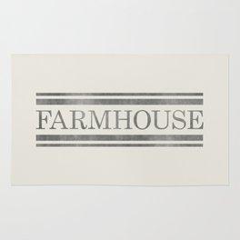 Vintage Farmhouse Grain Sack Design - Cream and Grey Rug