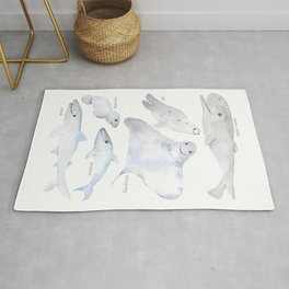 happy sea animals watercolor Rug