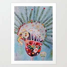 Xmas Guinea Pig Art Print
