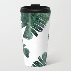 Banana Leaf Watercolor Pattern #society6 Metal Travel Mug