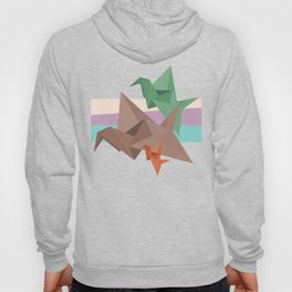 PAPER CRANES (Origami abstract birds animals nature) Hoody