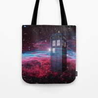 dr who Tote Bags featuring Dr Who police box  by store2u