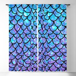 Purples & Blues Mermaid scales Blackout Curtain