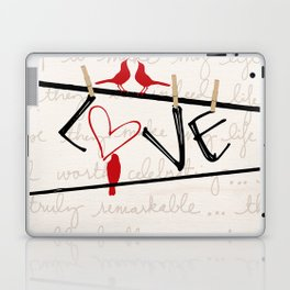 Love Letters Red Bird Clothesline A713 Laptop & iPad Skin