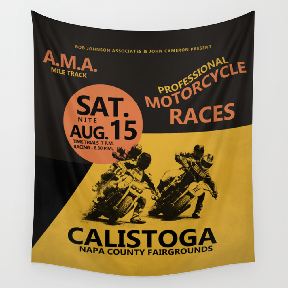 Calistoga Motorcycle Races Wall Tapestry by Markrogan TPS8563966