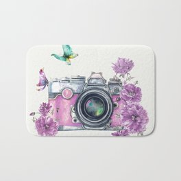 Camera with Summer Flowers 2 Bath Mat