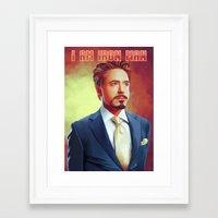 tony stark Framed Art Prints featuring Tony Stark - Iron Man by KanaHyde