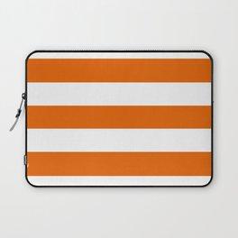 Spanish orange - solid color - white stripes pattern Laptop Sleeve